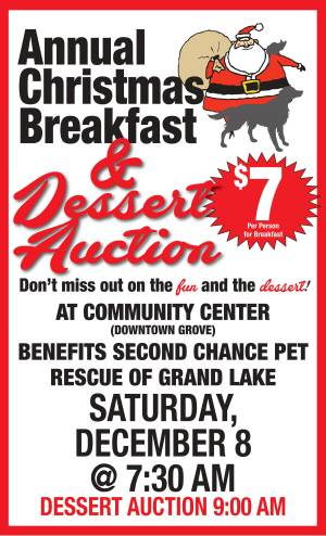 SAVE THE DATE - Second Chance Pet Rescue's Annual Christmas Breakfast/Holiday Dessert Auction