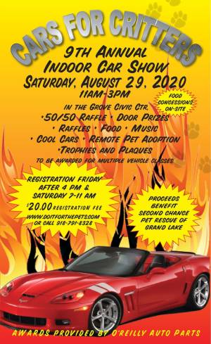 "August 29, 2020 Second Chance Pet Rescue ""Cars for Critters"" Indoor Car Show Benefit"